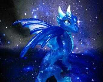 Blue Star Sapphire Dragon figurine, fantasy collectable, handmade art, original resin sculpture