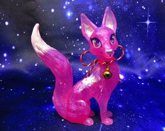Pink Crystal Kitsune fox Figurine Statue, Handmade art, Japanese fox