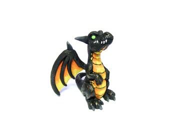 Black Obsidian Whelpling Sculpture, Multicolored Fantasy Creature, Cute Dragon Sculpture