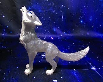 Silver Stardust howling wolf sculpture handmade figurine