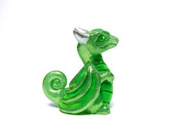 Green Holo Curious Pocket Peep Dragon, Cute baby dragon animal figurine