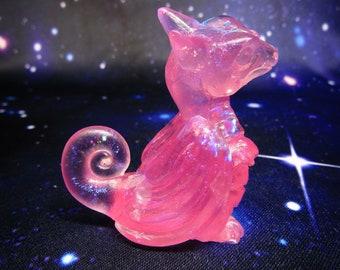 Pink Crystal Curious Pocket Peep Dragon, Cute baby dragon animal figurine