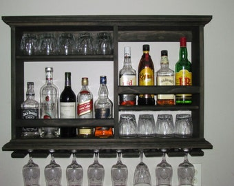 Delicieux Mini Bar, Black Stain, Wine Rack, Liquor Cabinet, Minimalist Style, 3 X 2  Wall Mounted Bar