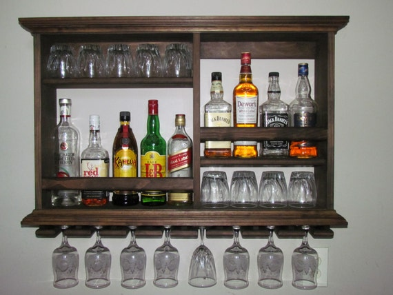 Mini Bar Espresso Stain Liquor Cabinet Wine Rack 3 X Etsy