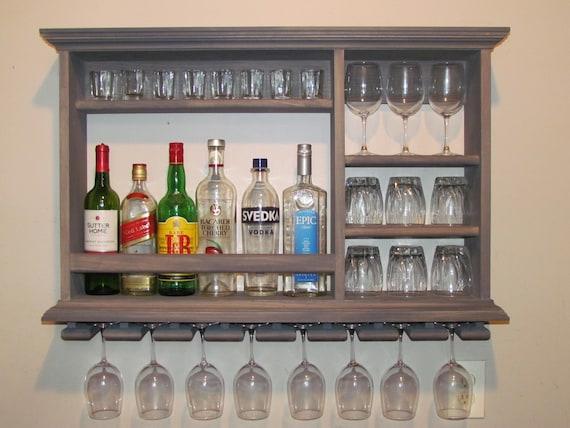 Mini Bar Weathered Gray wine rack 3\'x2\' wall mounted   Etsy
