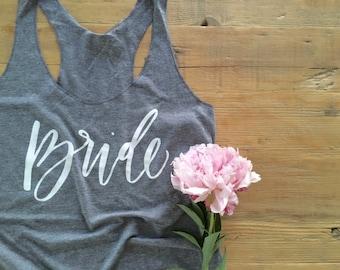 SALE - Bride - heathered gray tank top - calligraphy / handwritten / bride gift / shower gift
