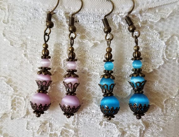 Long Pink Cat Eye Glass Bead Earrings Drop Dangle Antique Vintage Style