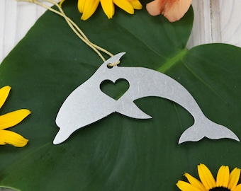 Dolphin Ocean Metal Ornament Rustic  Gift for Her Him Spring Decor Wedding Favor Custom Stamping Engraving Ocean Travel Father's Day
