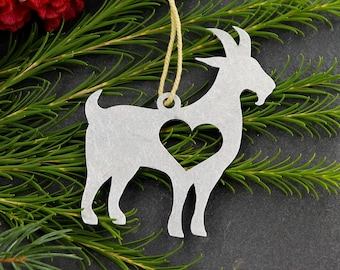 goat metal animal ornament custom gift for her him personalized stamping engraving wedding favor souvenir fall decor christmas holiday