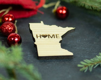 Minnesota Wooden Home Magnet Holiday Decor Christmas Gift Stocking Stuffer Wedding Favor Home Wanderlust Travel Laser Cut Love State Present