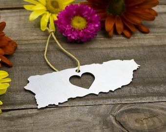 Puerto Rico Metal Ornament Travel Home Spring Decor Gift for her Him Souvenir Custom Stamping Personalized Engraving Country Father's Day