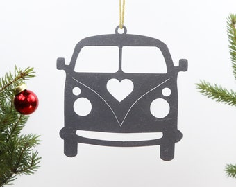 Peace Van Metal Ornament Custom Gift for Her Him Personalize Love Bus Hippie Wedding Favor Souvenir Decor Christmas Holiday Stocking Stuffer