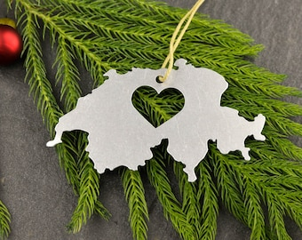 Heart Switzerland  Ornament Travel Memento Fall Decor  Gift for Her Him Souvenir Country Souvenir Europe Swiss Vacation Father's Day