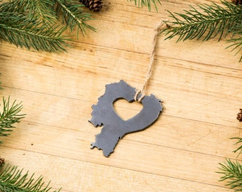 Heart Ecuador  Ornament Steel Travel Memento Fall Decor South America Gift for Her Him  Souvenir Father's Day Father's Day