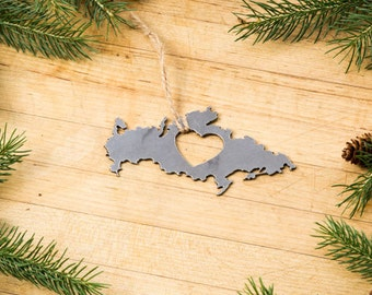 Heart Russia  Ornament Steel Country Decoration Travel Memento Souvenir Gift for Her Him  Fall Decor Father's Day Father's Day