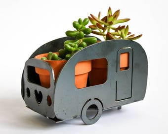 Classic Camper Camping Garden Art Van Yard Wedding Gift for Him Her RV Home Spring Decor  Herb Flower Pot Planter Outdoor Decor Father's Day