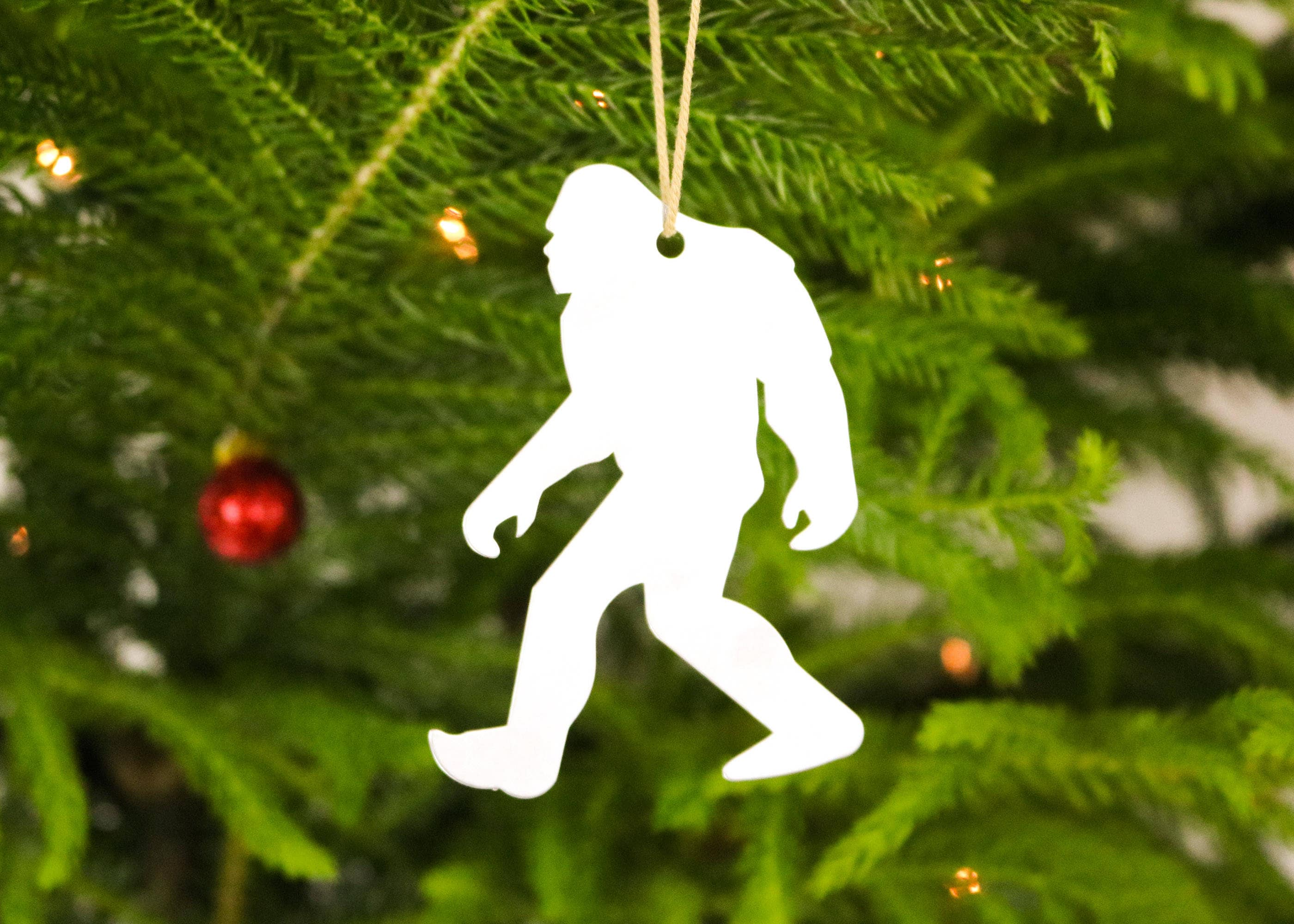 bigfoot yeti sasquatch metal ornament custom gift for her him personalized stamping engraving wedding souvenir fall decor christmas holiday - Bigfoot Christmas Ornament