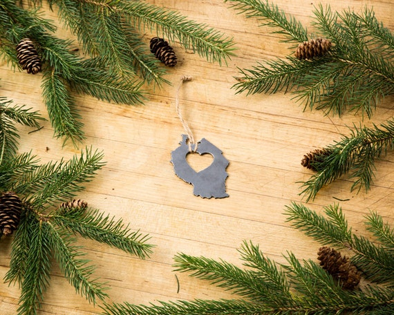 Tanzania Country Metal Steel Recycled Christmas Ornament Holiday Fall Decor  Gift for Her Him Tree Silver Heart