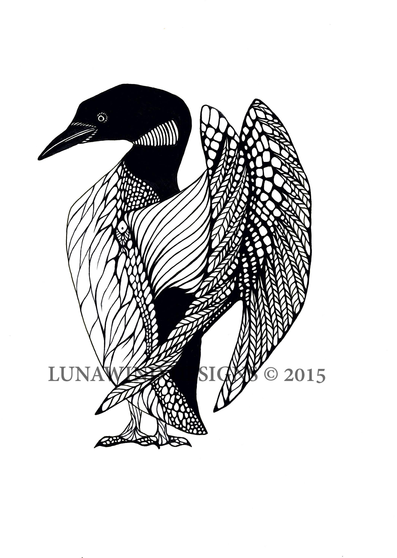 Loon Bird Lake Animal Artwork Coloring Nursery Design Children Art ...