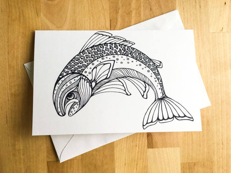 Trout fish animal coloring card diy art kids crafts paint do it trout fish animal coloring card diy art kids crafts paint do it yourself christmas card fall decor meditation relax therapy gift for her solutioingenieria Gallery