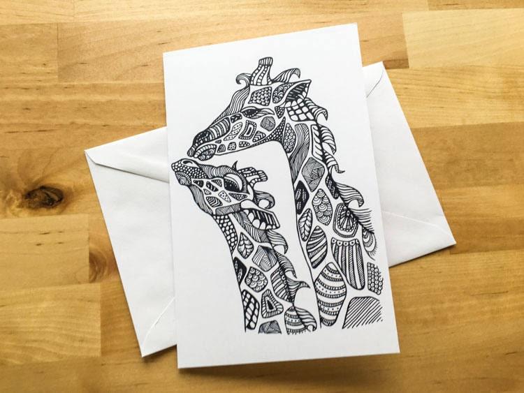 Giraffe Animal Coloring Card Diy Art Kids Crafts Paint Do It