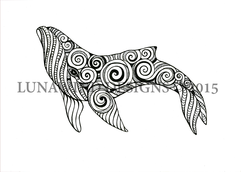 Humpback Whale Animal Artwork Coloring Nursery Design Children Art Zentangle Printable Instant Digital Download Adult Page