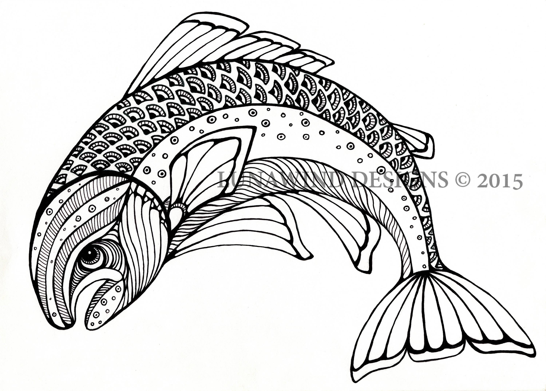 Trout Fish River Animal Artwork Coloring Book Nursery Design Children Art Zentangle Printable Instant Digital Download Adult Page