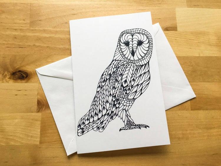 Owl bird animal coloring card diy zentangle art kids crafts paint do owl bird animal coloring card diy zentangle art kids crafts paint do it yourself christmas card fall decor solutioingenieria Choice Image