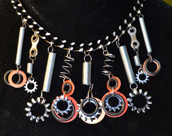 Mixed Metal Up-cycled Springs, Hardware Washers and Chain Necklace