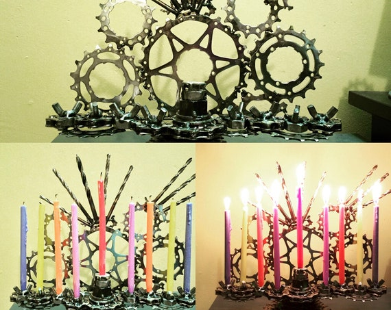 Custom TIG welded bicycle parts Menorah