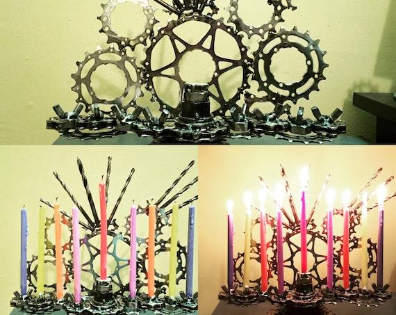 Custom TIG welded bicycle parts Menorah