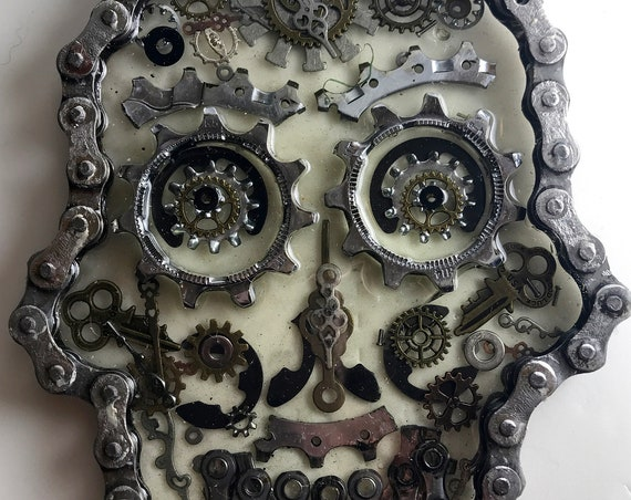 up-cycled bicycle parts sugar skull
