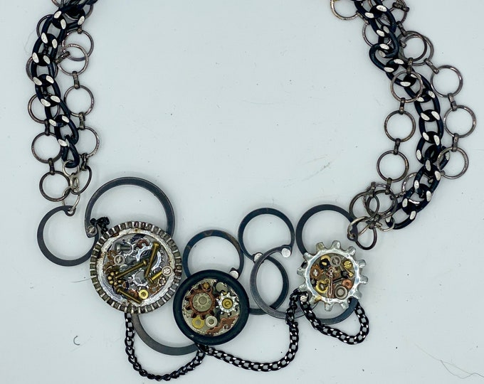 Upcycled micro hardware and chain necklace