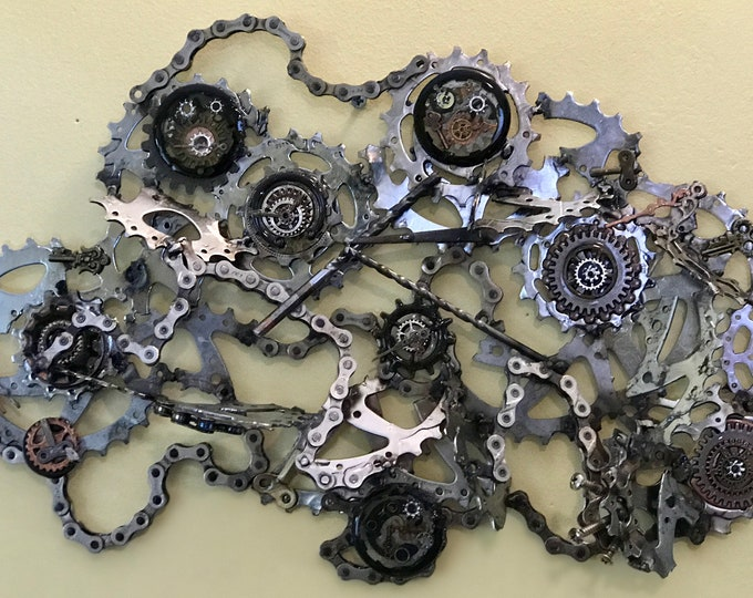 Custom welded up-cycled bicycle parts wall hanging