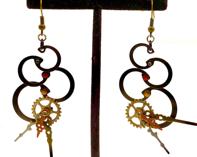 One-of-a-kind steampunk upcyed hardware earrings