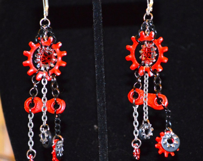 Red and Black bicycle chain earrings, bike gears, dangle earrings, chain earrings