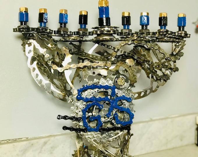 Kosher Bicycle Parts Menorah