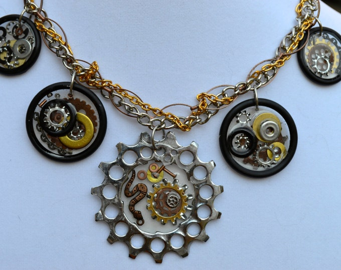 BICYCLE NECKLACE: Edgy and Chic Upcycled Bicycle COG Necklace