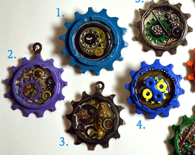 Bicycle gear pendant, bike necklace, bike jewelry, hand-painted