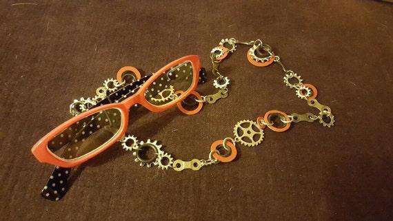 Upcycled Bike chain and hardware eyeglass holder