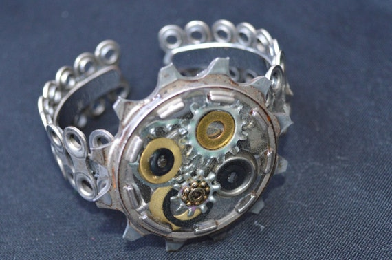 BICYCLE CUFF: Upcycled Bicycle cog bracelet, made from gears, washers, and bike chain set in resin