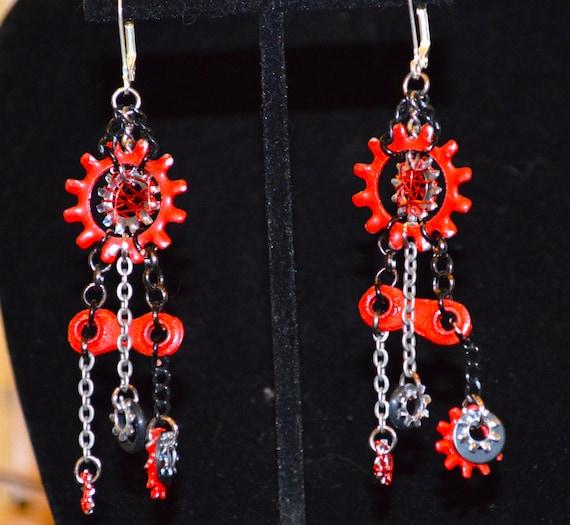 Red and Black bicycle chain earrings, bike gears, dangle earrings, chain earrings