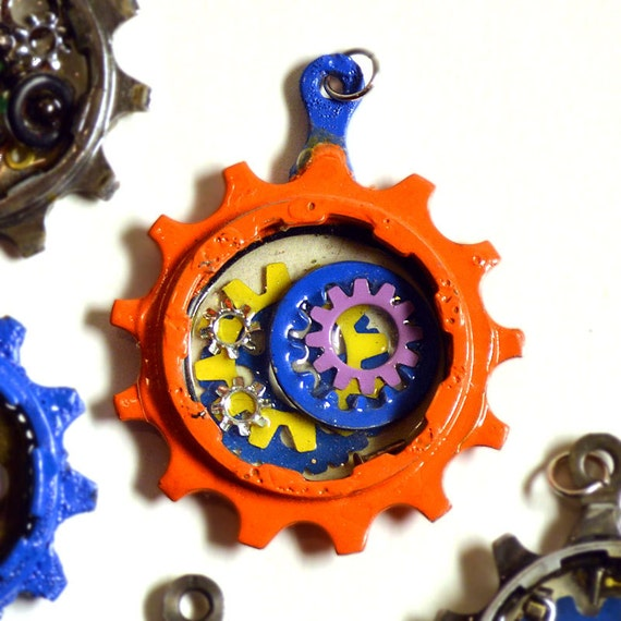 Orange bike gear pendant, bicycle necklace, bike jewelry, hand-painted