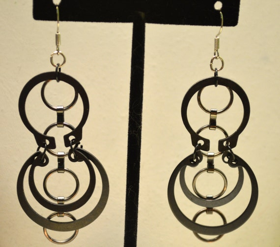 Black, Sleek, Edgy, Up-cycled Hardware EARRINGS