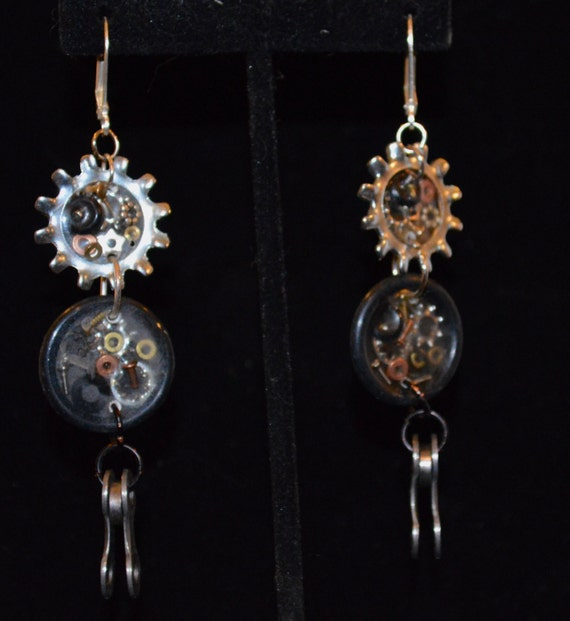 Steampunk Bike Chain Earrings
