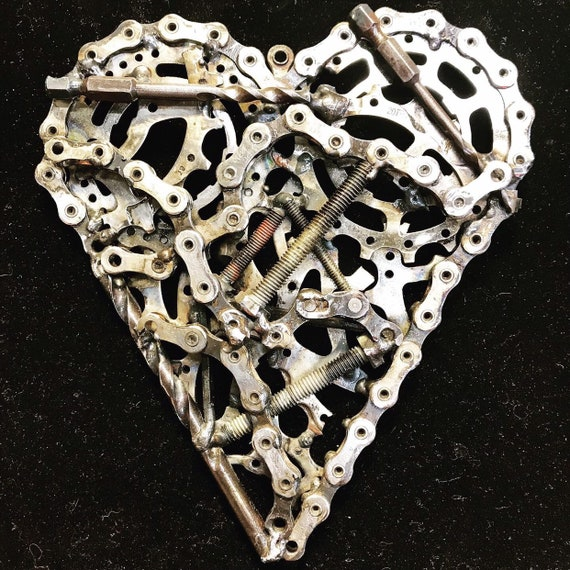 Recycled bicycle parts Heart