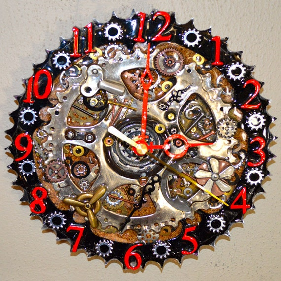 Upcycled bicycle gear clock, bike clock