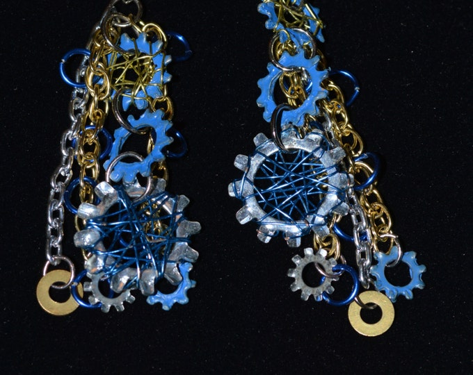Fun and Edgy Upcyled, Wire Wrapped, painted Hardware Washers and Chain Earrings