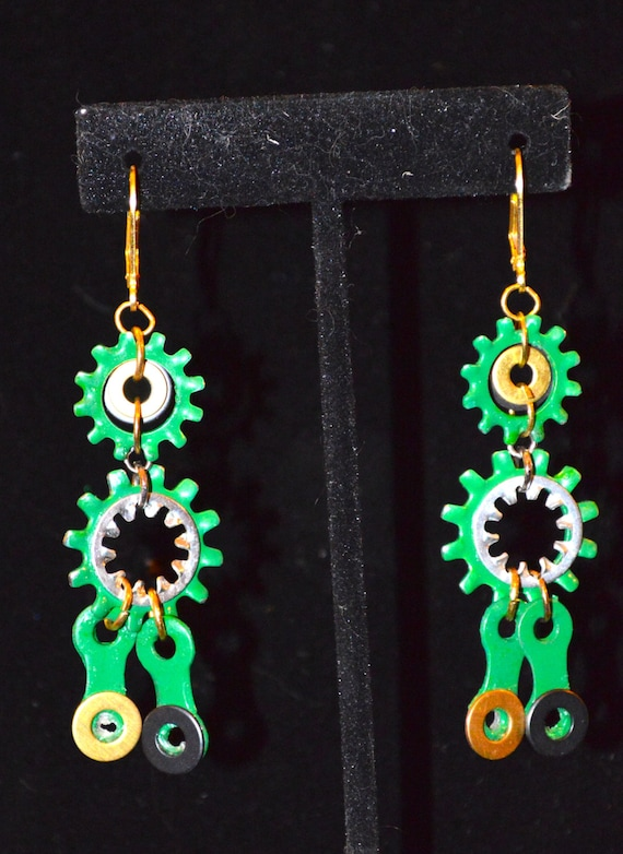 Green bike chain and gear dangle earrings, bicycle jewelry, upcycled jewelry