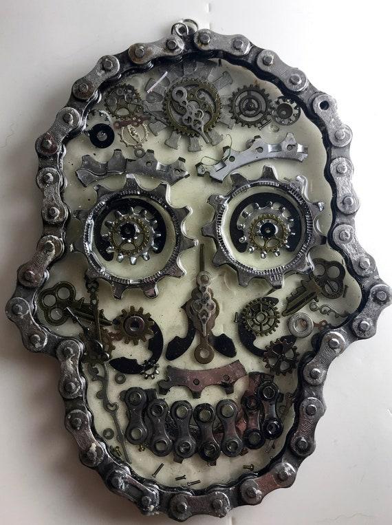 up-cycled bicycle parts sugar skull